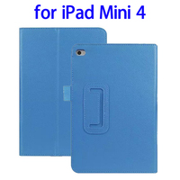Wholesale price 2 Folding Litchi Texture flip cover for ipad mini 4 tablet case