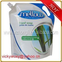 plastic detergent power packaging bag with spout
