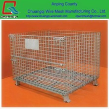 Folding Wire Mesh Container / Stackable Storage Cage / Metal Basket