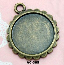 Jewelry Findings Antique Silver Plated Blank Pendant Trays Fit 16mm Round Cabochon