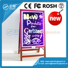 Promotion ZD Advertise Board Wholesale Frame Signs Wooden-alike Waterproof 90 Flashing Modes LED Table Sign