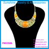 2015 fashion golden zinc charm necklace beautiful women statement necklace