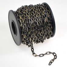 Brass Chain Chandelier, Antiqued Brass Plated Drawn Flattened Cable Chain Spool, Footage, 4.8mm