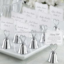 Best selling place card clip party and event supplie wedding favor metal golden & silver bell seat card holder