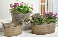 Vintage Rustic Style 3 pc/set metal garden decoration plant pots