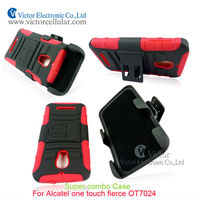 Made in China Double Hard Holster Clip Case for Alcatel One touch Fierce 7024