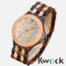 2014 Wholesale Blackwood Maplewood watch with Date function, waterproof