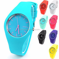 Wholesale 2015 New Silicone Geneva Ladies Wrist Watch 11 Colors Fashion Jelly Geneva Quartz Watches