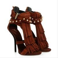 2015 latest design high quality heels sexy tassel lady sandals