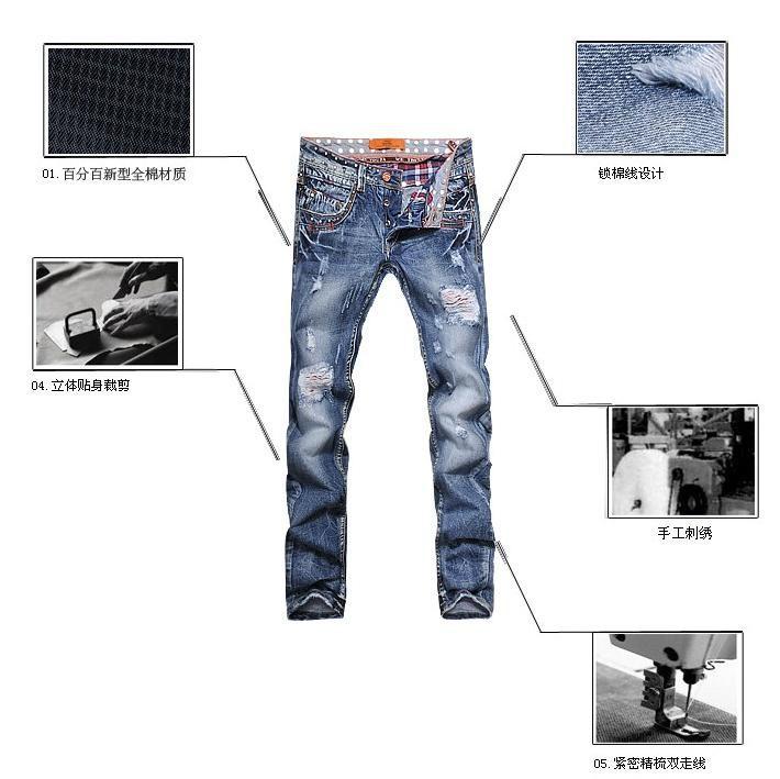 Скидки на Шипы персонализированные потёртый разрез европейский стиль приталенный состаренные джинсовый мужчины брюки мужские дизайнер истинные джинсы брюки большой размер
