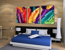 New Arrival Free shipping home decoration Modern canvas Wall Art,print fresh colored feathers Oil Painting, picture