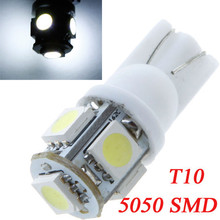 10Pcs/lot 5050 SMD 5 LEDs Car Side Wedge Light Lamp White Auto Bulb Led Lighting Source T10 168 194 W5W Lighting White