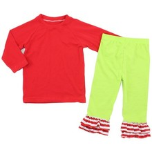 2015 Hot Sale Kids Holiday Clothing Set girls wholesale boutique Western Girls Cute Newborn Baby Christmas Outfits