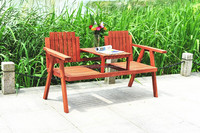 Outdoor furniture wooden chair set, double seat with table ALS-7138