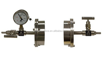 stainless steel flange Vacuum Sealing Assembly for Tube Furnace with Valve / Vacuum Meter