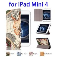 Paypal Accepted Map Pattern Leather for iPad Mini 4 Case