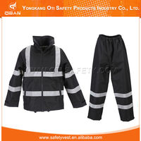 Best quality hi vis reflective road protective branded black raincoat