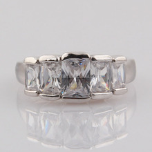 CZ Diamond Jewelry Large Square Stone Ring Engagement/Wedding Brass Cooper Rings