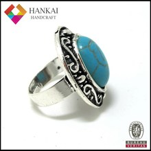 Antique silver turquoise ring , zinc ring jewelry