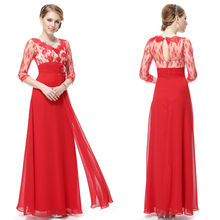 HE09053 3/4 Sleeve Sheer Lace Rhinestone Red V-neck Evening Dress