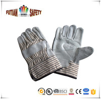 FTSAFETY cow split leather patch palm working hand gloves handwear strip cotton back