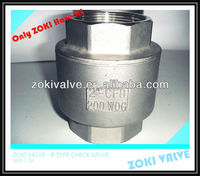Stainless Steel Vertical Check Valve with BSP BSPT BS21 NPT End,Stainless steel,800psi,200psi.BIG QTY STOCK AVAILABLE