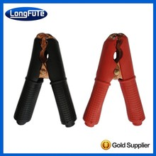 LongFuTe factory outlet isolated PVC brass / copper plated insulated pinch cock crocodile clips / alligator clip
