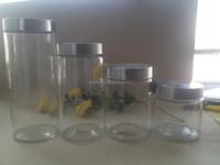 Wholsale 4pcs glass candy jar crystal glass jar with metal lid and glass nuts storage jar