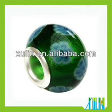 wholesale green color sterling silver single hole murano beads