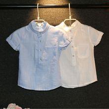 Children shirt boys summer influx of new high-quality children's short-sleeved linen shirt jacket J