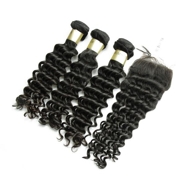 Livraison Gratuite vague profonde gros brésilienne vierge cheveux bundles avec dentelle fermeture