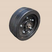 210x80mm solid rubber wheel with rib tread and black iron rim for finishing mower