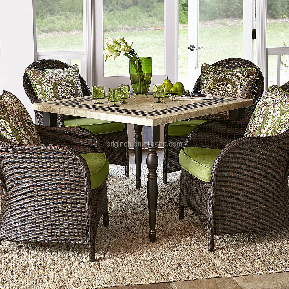 Stone Granite Top Square Table With 4 Rattan Dining Chairs ...