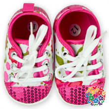 Soft Hot Pink Sequin And Flower Pattern Adult Baby Shoes In Bulk Best Gift For Baby Girl Shoes