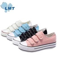 Wholesale 4 colors velcro thick sole new model canvas shoes women