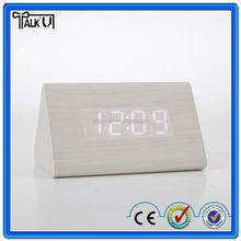 Novelty design triangle shape LED digital wooden clock, decorative table wooden LED digital alarm clock