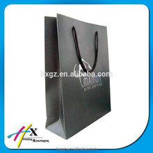 Silver Hot Stamping Black Paper Packaging Bag for T-shirt