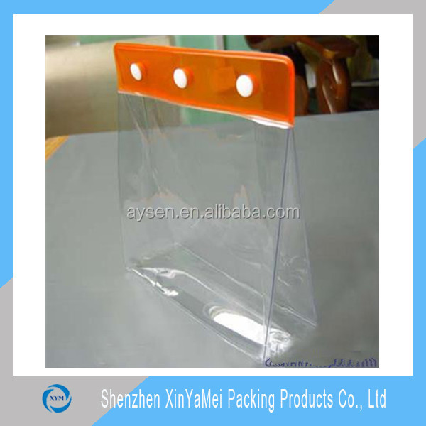 Clear PVC pouch with zip or button closure