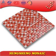 Colorful 15*15mm crystal glass blends natural stone mosaic tiles price