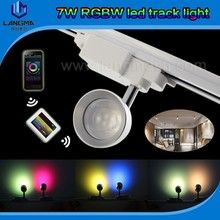 RGB+W color changing smart led track light rotating spotlight