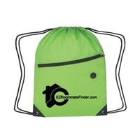 Factory good quality drawstring bag with front zipper pocket