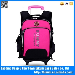 2015 China wholesale waterproof nylon fashion cheap boys and girls children trolley backpack