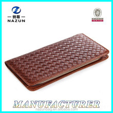 Hot sell factory price woven pattern genuine leather men wallet