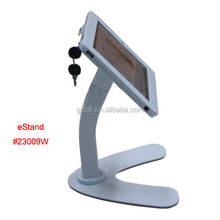 secure table bracket for iPad/ tablet metal enclosure with lock/ advertising display support/ countertop mount on shop eStand