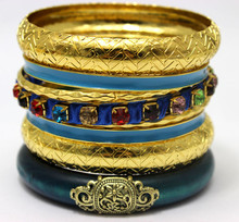 Alibaba Whoesale Online Indian Gold Plated Jewelry Vintage Blue Wooden Rhinestone Bangle Set