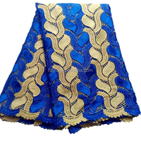 Top quality royal blue lace fabric / New fashion korean fabric / Water soluble turkish lace for sale
