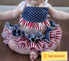 Red white blue fabric tutu toddler boy clothes all around ruffle diaper cover baby suit 4th of July baby skirts set