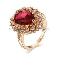 Multifunctional 18k Rose Gold Plated Ruby Stone wedding ring
