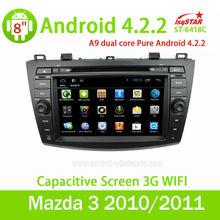 De dvd del coche con la navegación gps para mazda 3 2010/2011andriod 4.. 2.2+3g+wifi+dvd+radio+bt phonebook+ipod lista...