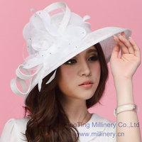 New White Woman Church Kentucky Derby Wedding Party Sinamay Dress Hat